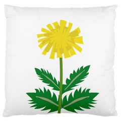 Sunflower Floral Flower Yellow Green Large Flano Cushion Case (two Sides)
