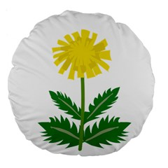 Sunflower Floral Flower Yellow Green Large 18  Premium Flano Round Cushions