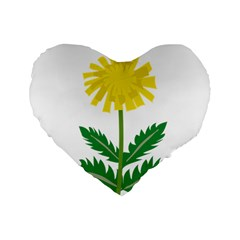 Sunflower Floral Flower Yellow Green Standard 16  Premium Flano Heart Shape Cushions by Mariart