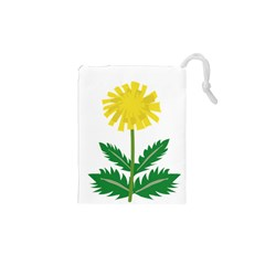 Sunflower Floral Flower Yellow Green Drawstring Pouches (xs)