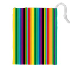 Multi Colored Colorful Bright Stripes Wallpaper Pattern Background Drawstring Pouches (xxl)
