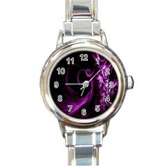 Purple Flower Floral Round Italian Charm Watch