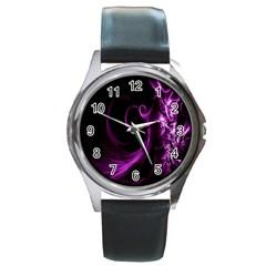 Purple Flower Floral Round Metal Watch