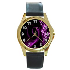 Purple Flower Floral Round Gold Metal Watch