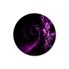 Purple Flower Floral Rubber Coaster (round)