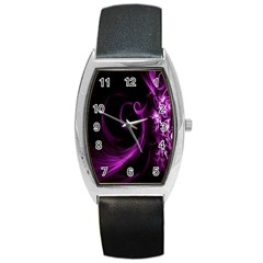 Purple Flower Floral Barrel Style Metal Watch by Mariart