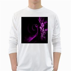 Purple Flower Floral White Long Sleeve T Shirts