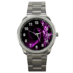 Purple Flower Floral Sport Metal Watch by Mariart