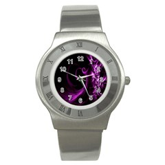 Purple Flower Floral Stainless Steel Watch