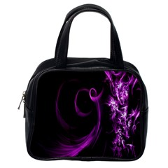 Purple Flower Floral Classic Handbags (one Side)