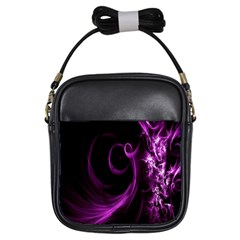 Purple Flower Floral Girls Sling Bags