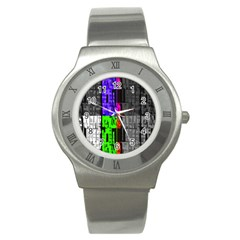 Repeated Tapestry Pattern Stainless Steel Watch
