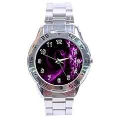 Purple Flower Floral Stainless Steel Analogue Watch