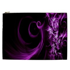 Purple Flower Floral Cosmetic Bag (xxl)