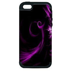 Purple Flower Floral Apple Iphone 5 Hardshell Case (pc+silicone)