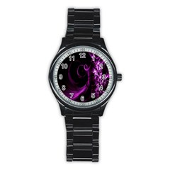 Purple Flower Floral Stainless Steel Round Watch