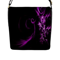 Purple Flower Floral Flap Messenger Bag (l)  by Mariart