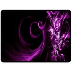 Purple Flower Floral Double Sided Fleece Blanket (large)