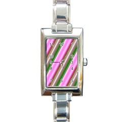 Pink And Green Abstract Pattern Background Rectangle Italian Charm Watch by Nexatart