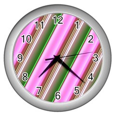 Pink And Green Abstract Pattern Background Wall Clocks (silver)  by Nexatart
