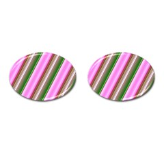 Pink And Green Abstract Pattern Background Cufflinks (oval) by Nexatart