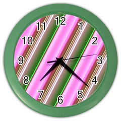 Pink And Green Abstract Pattern Background Color Wall Clocks by Nexatart