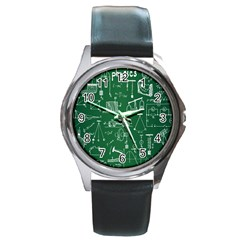 Scientific Formulas Board Green Round Metal Watch