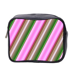 Pink And Green Abstract Pattern Background Mini Toiletries Bag 2 Side by Nexatart