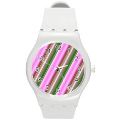 Pink And Green Abstract Pattern Background Round Plastic Sport Watch (m) by Nexatart