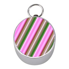 Pink And Green Abstract Pattern Background Mini Silver Compasses