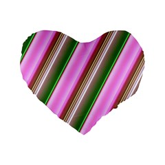Pink And Green Abstract Pattern Background Standard 16  Premium Flano Heart Shape Cushions by Nexatart