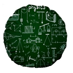 Scientific Formulas Board Green Large 18  Premium Round Cushions by Mariart