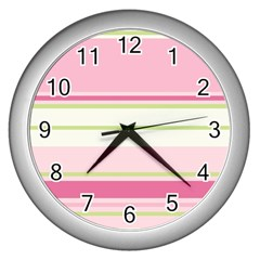 Turquoise Blue Damask Line Green Pink Red White Wall Clocks (silver)  by Mariart
