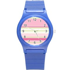Turquoise Blue Damask Line Green Pink Red White Round Plastic Sport Watch (s) by Mariart
