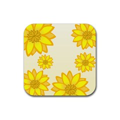 Sunflowers Flower Floral Yellow Rubber Square Coaster (4 Pack)  by Mariart