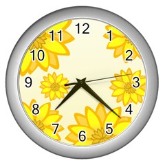 Sunflowers Flower Floral Yellow Wall Clocks (silver)  by Mariart