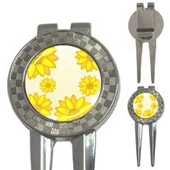 Sunflowers Flower Floral Yellow 3 In 1 Golf Divots by Mariart