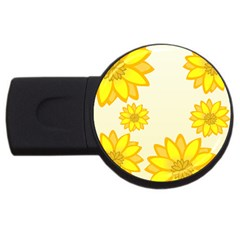 Sunflowers Flower Floral Yellow Usb Flash Drive Round (4 Gb) by Mariart