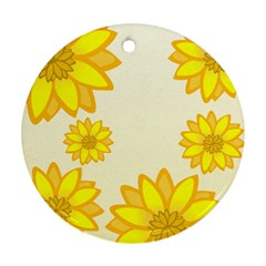 Sunflowers Flower Floral Yellow Round Ornament (two Sides) by Mariart
