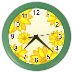Sunflowers Flower Floral Yellow Color Wall Clocks by Mariart