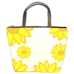 Sunflowers Flower Floral Yellow Bucket Bags by Mariart