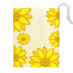 Sunflowers Flower Floral Yellow Drawstring Pouches (xxl) by Mariart