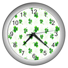 Leaf Green White Wall Clocks (silver)  by Mariart