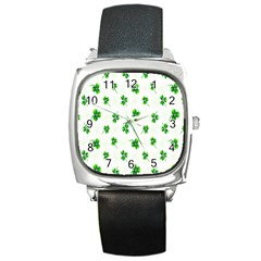 Leaf Green White Square Metal Watch by Mariart