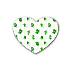 Leaf Green White Heart Coaster (4 Pack)  by Mariart