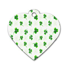 Leaf Green White Dog Tag Heart (two Sides) by Mariart
