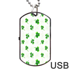 Leaf Green White Dog Tag Usb Flash (two Sides) by Mariart