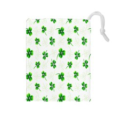 Leaf Green White Drawstring Pouches (large)  by Mariart