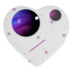 Space Transparent Purple Moon Star Ornament (heart) by Mariart