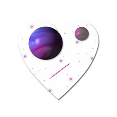 Space Transparent Purple Moon Star Heart Magnet by Mariart